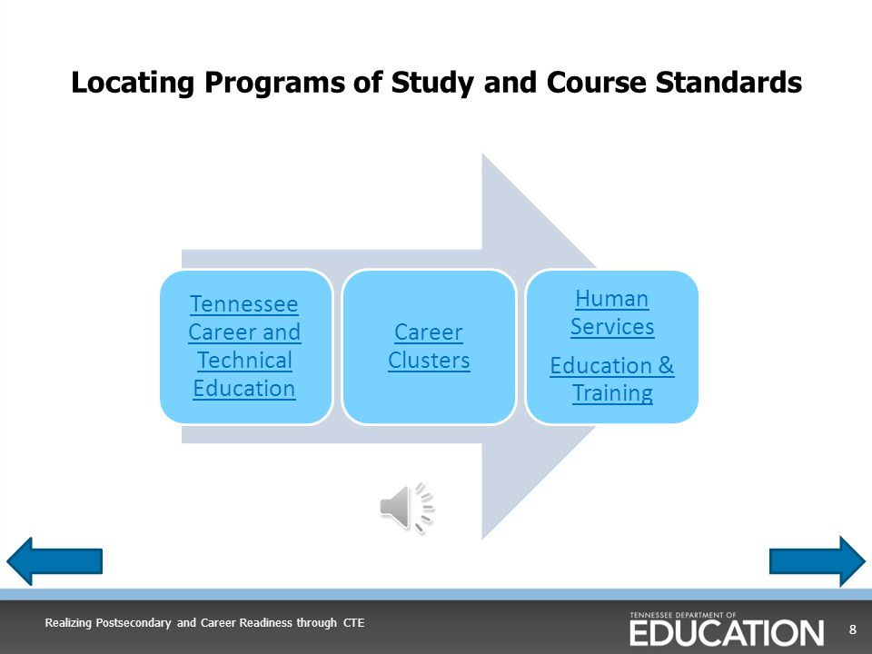 Locating Programs of Study and Course Standards Realizing Postsecondary and Career Readiness through CTE 8 Tennessee Career and Technical Education Career Clusters Human Services Education & Training