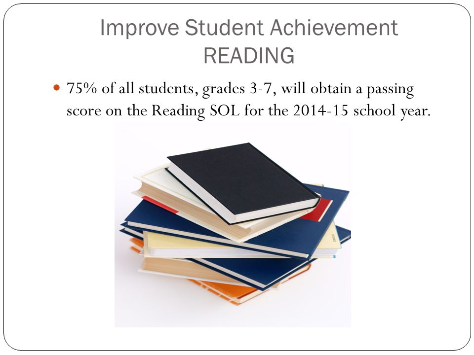 Improve Student Achievement READING 75% of all students, grades 3-7, will obtain a passing score on the Reading SOL for the 2014-15 school year.