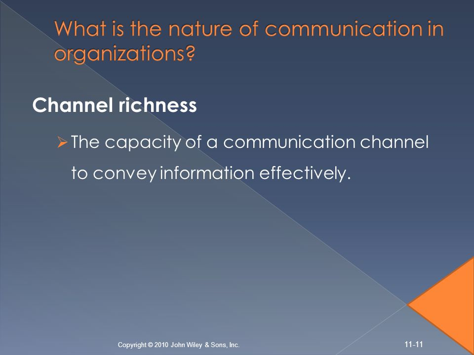 Channel richness  The capacity of a communication channel to convey information effectively. Copyright © 2010 John Wiley & Sons, Inc. 11-11