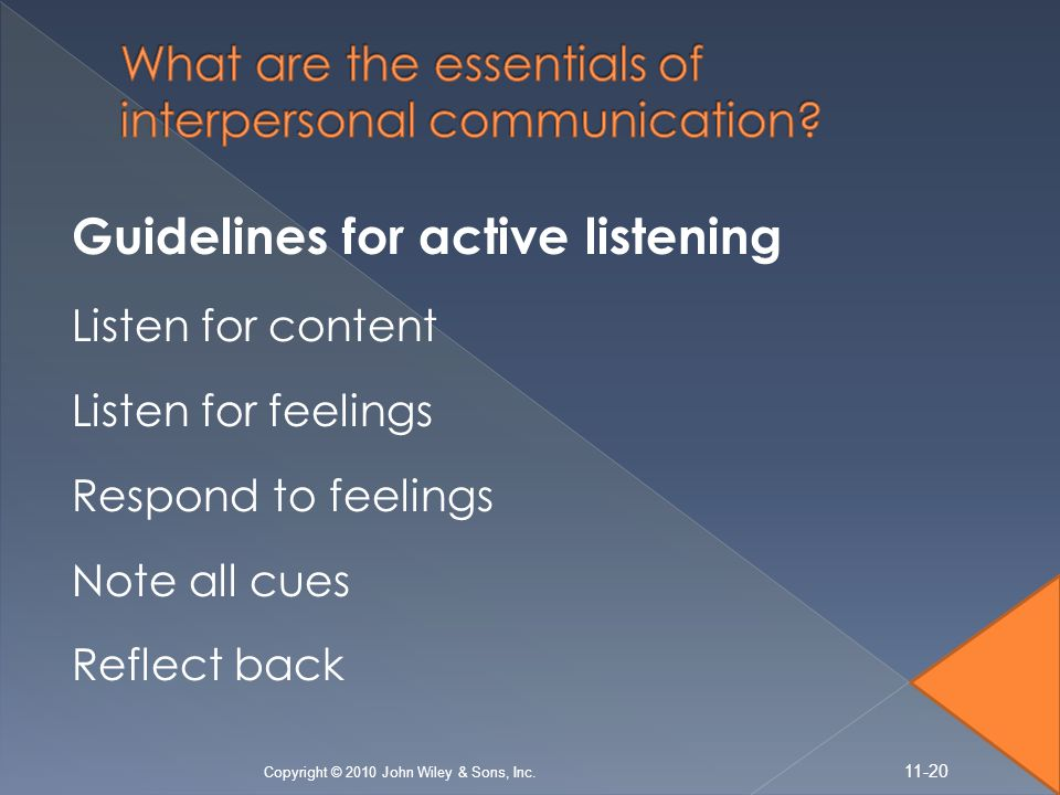 Guidelines for active listening Listen for content Listen for feelings Respond to feelings Note all cues Reflect back Copyright © 2010 John Wiley & So