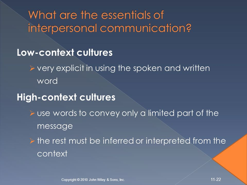 Low-context cultures  very explicit in using the spoken and written word High-context cultures  use words to convey only a limited part of the messa