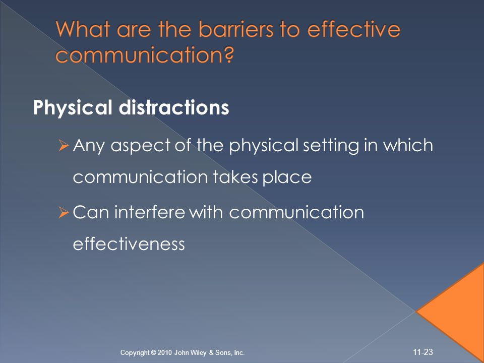 Physical distractions  Any aspect of the physical setting in which communication takes place  Can interfere with communication effectiveness Copyrig