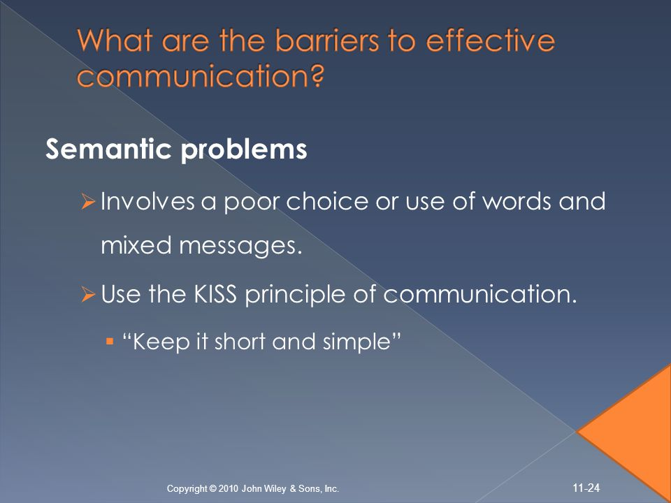 "Semantic problems  Involves a poor choice or use of words and mixed messages.  Use the KISS principle of communication.  ""Keep it short and simple"""