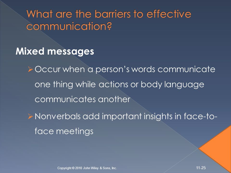 Mixed messages  Occur when a person's words communicate one thing while actions or body language communicates another  Nonverbals add important insi