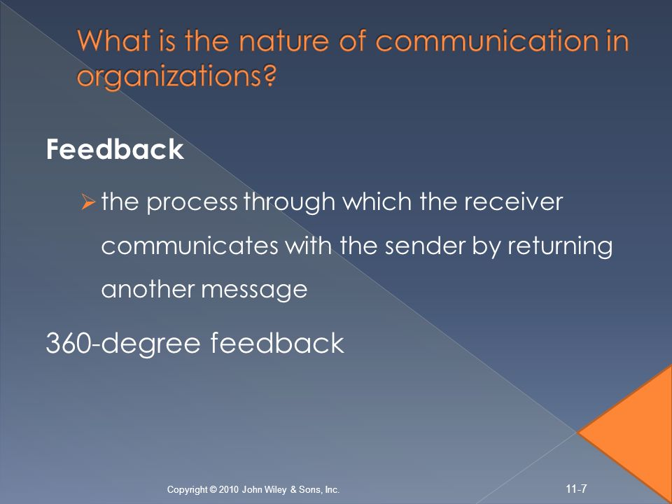 Feedback  the process through which the receiver communicates with the sender by returning another message 360-degree feedback Copyright © 2010 John
