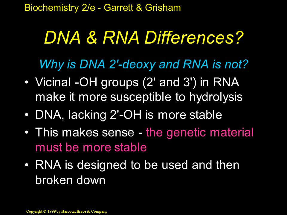 Biochemistry 2/e - Garrett & Grisham Copyright © 1999 by Harcourt Brace & Company DNA & RNA Differences.