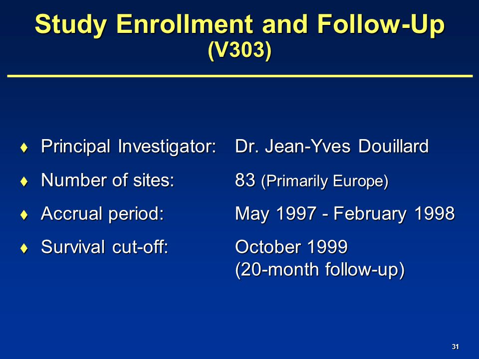 31 Study Enrollment and Follow-Up (V303)  Principal Investigator:Dr.