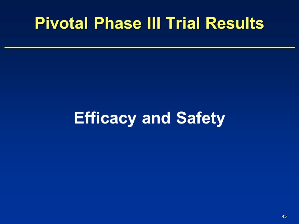 45 Pivotal Phase III Trial Results Efficacy and Safety