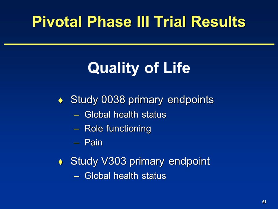 61 Quality of Life Pivotal Phase III Trial Results  Study 0038 primary endpoints –Global health status –Role functioning –Pain  Study V303 primary endpoint –Global health status