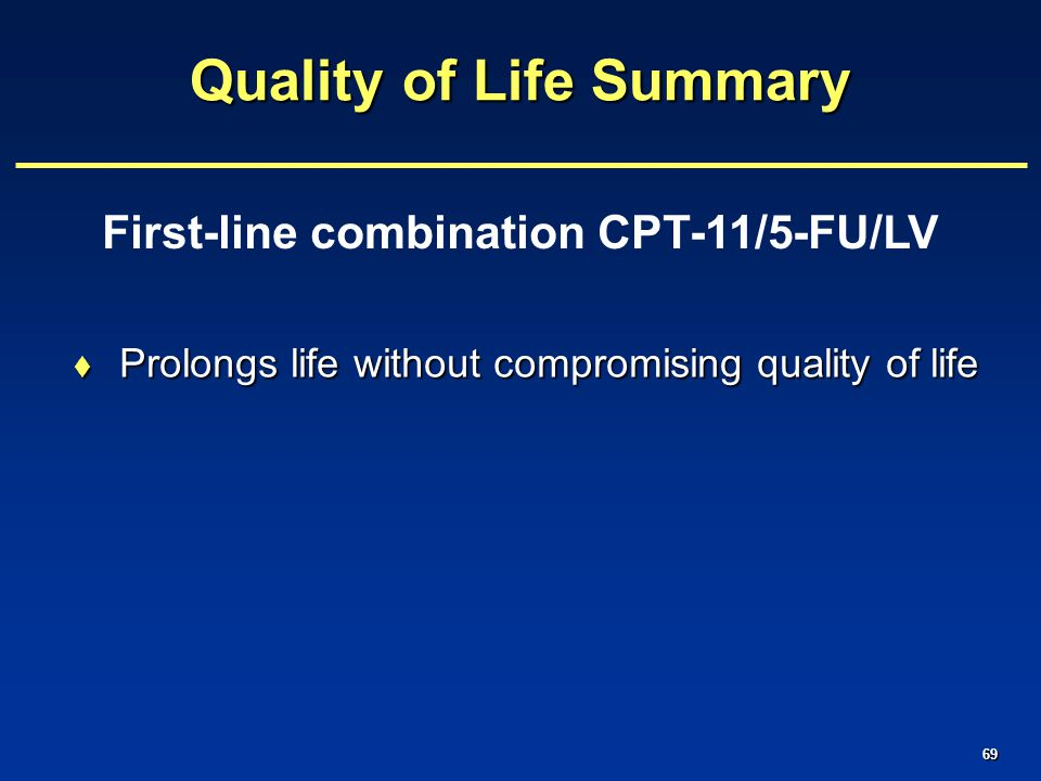 69 Quality of Life Summary  Prolongs life without compromising quality of life First-line combination CPT-11/5-FU/LV