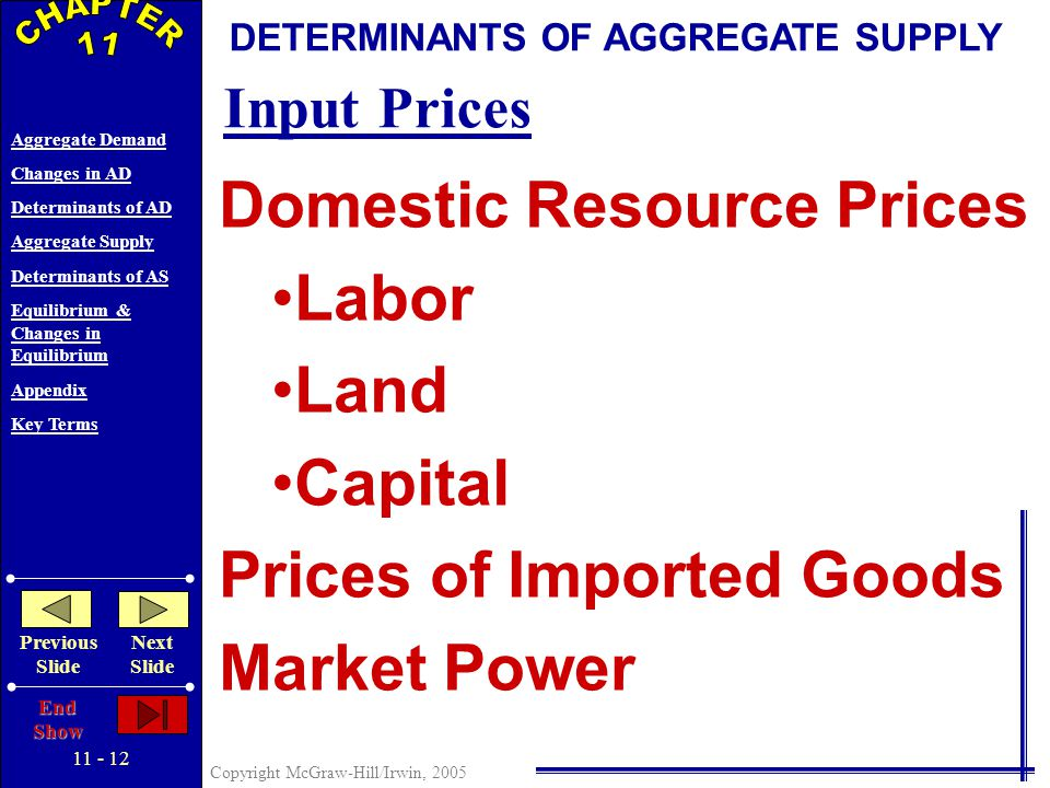 11 - 11 Copyright McGraw-Hill/Irwin, 2005 Aggregate Demand Changes in AD Determinants of AD Aggregate Supply Determinants of AS Equilibrium & Changes in Equilibrium Appendix Key Terms Previous Slide Next Slide End Show AGGREGATE SUPPLY Price level Real domestic output, GDP Q P AS 3 AS 1 AS 2 Increase In Aggregate Supply Decrease In Aggregate Supply Changes in Aggregate Supply