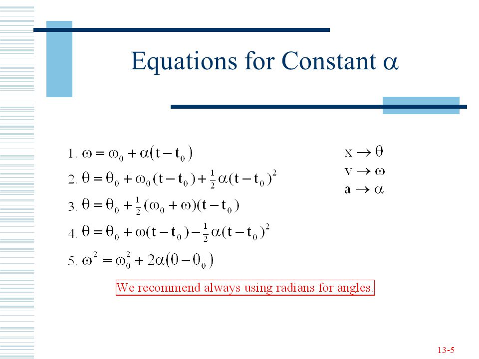 13-5 Equations for Constant 