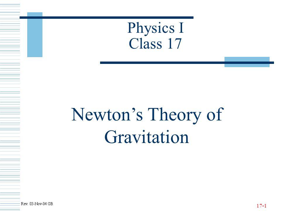 17-1 Physics I Class 17 Newton's Theory of Gravitation