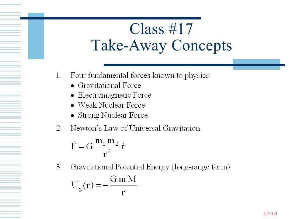 17-10 Class #17 Take-Away Concepts