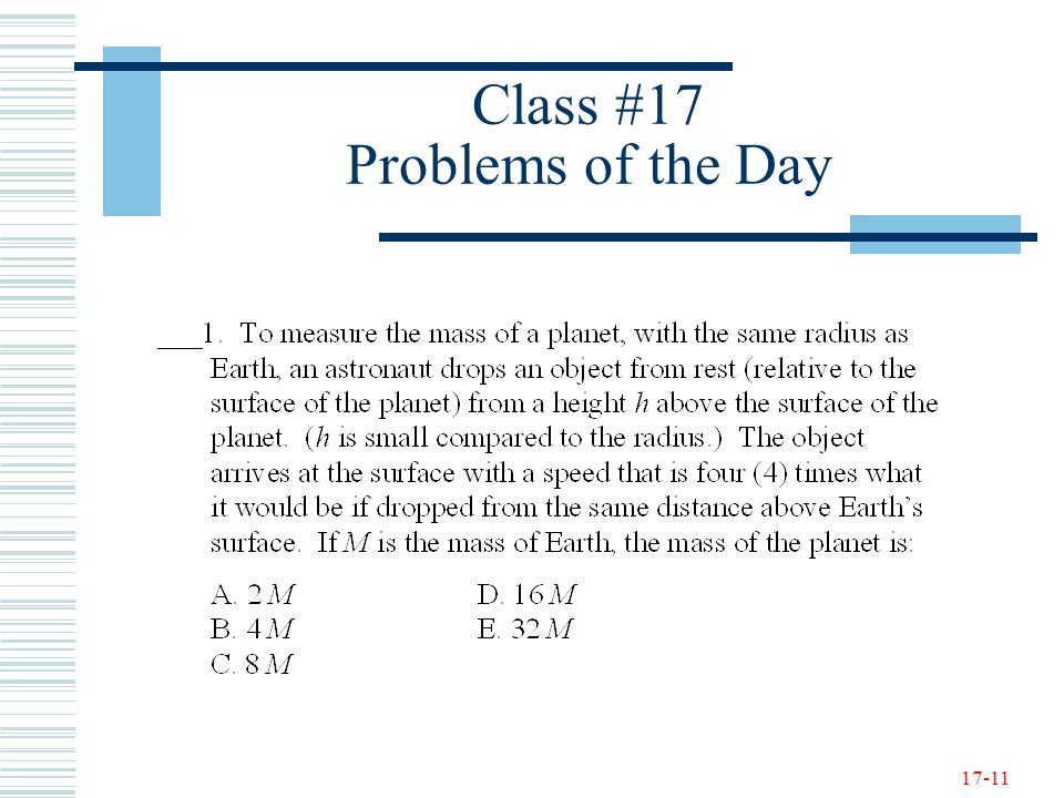 17-11 Class #17 Problems of the Day