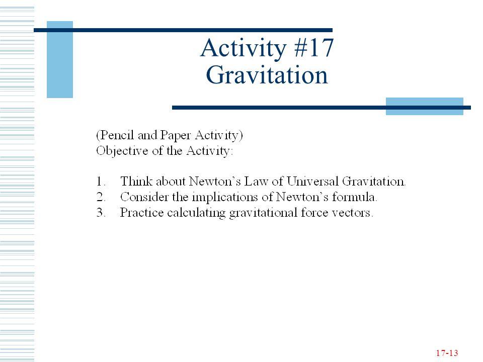 17-13 Activity #17 Gravitation