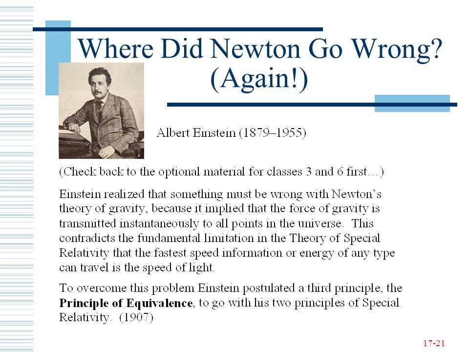 17-21 Where Did Newton Go Wrong? (Again!)