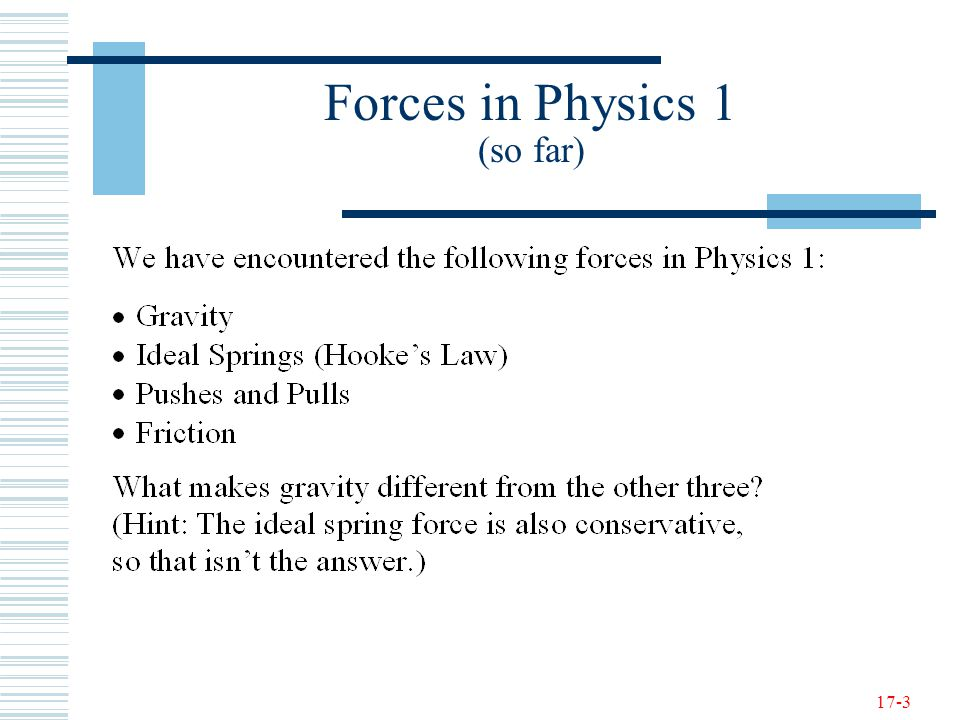 17-3 Forces in Physics 1 (so far)