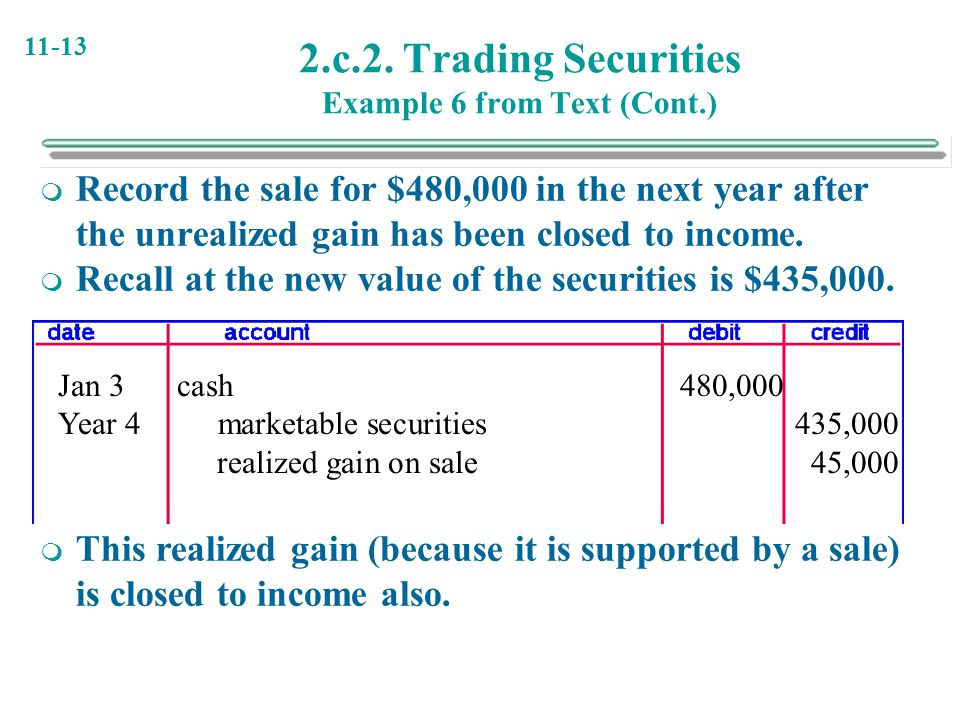 11-13 2.c.2. Trading Securities Example 6 from Text (Cont.)  Record the sale for $480,000 in the next year after the unrealized gain has been closed