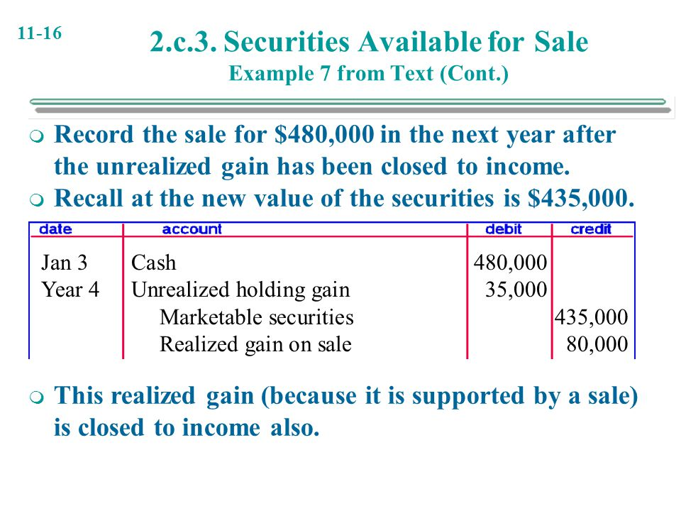 11-16 2.c.3. Securities Available for Sale Example 7 from Text (Cont.)  Record the sale for $480,000 in the next year after the unrealized gain has b