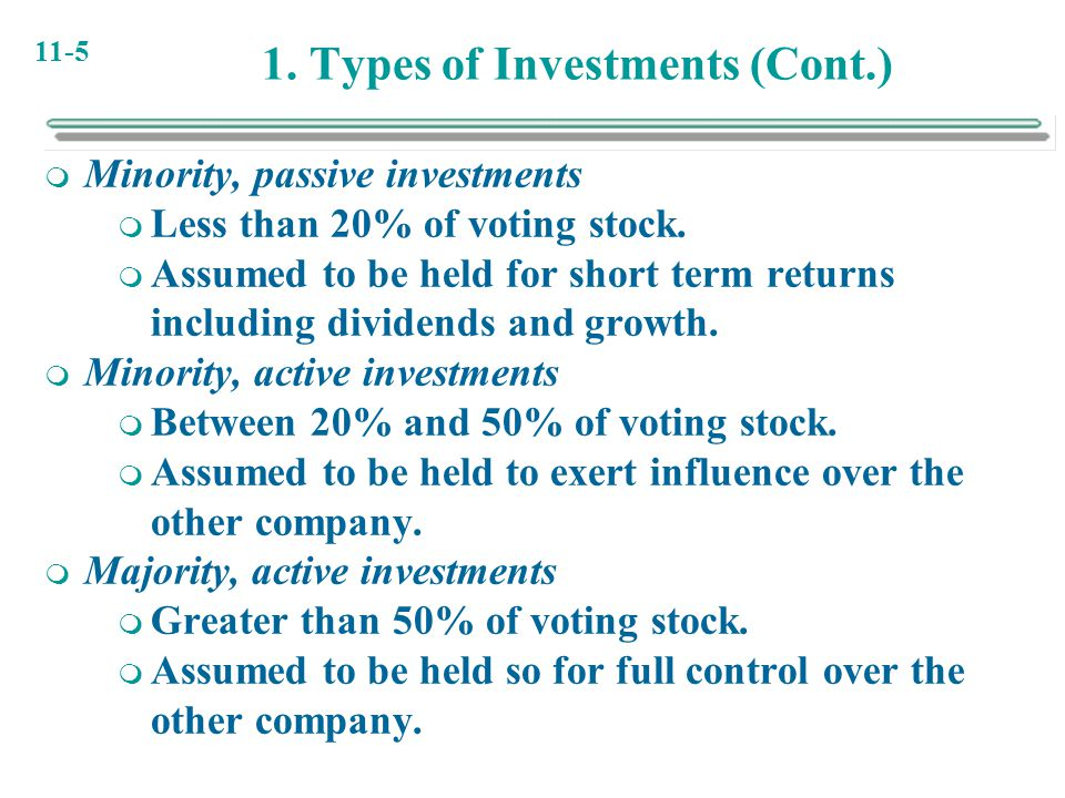 11-5 1. Types of Investments (Cont.)  Minority, passive investments  Less than 20% of voting stock.  Assumed to be held for short term returns incl