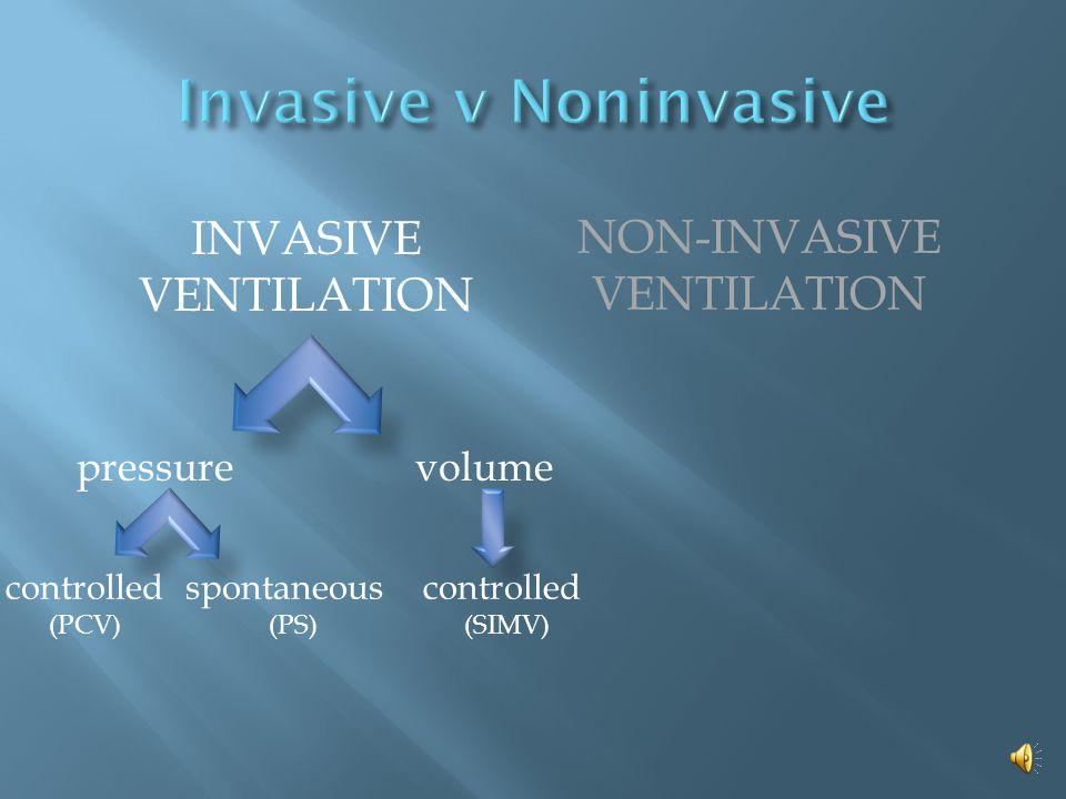INVASIVE VENTILATION NON-INVASIVE VENTILATION controlledspontaneous volume control pressure control pressure support (PCV)(PS)(SIMV)