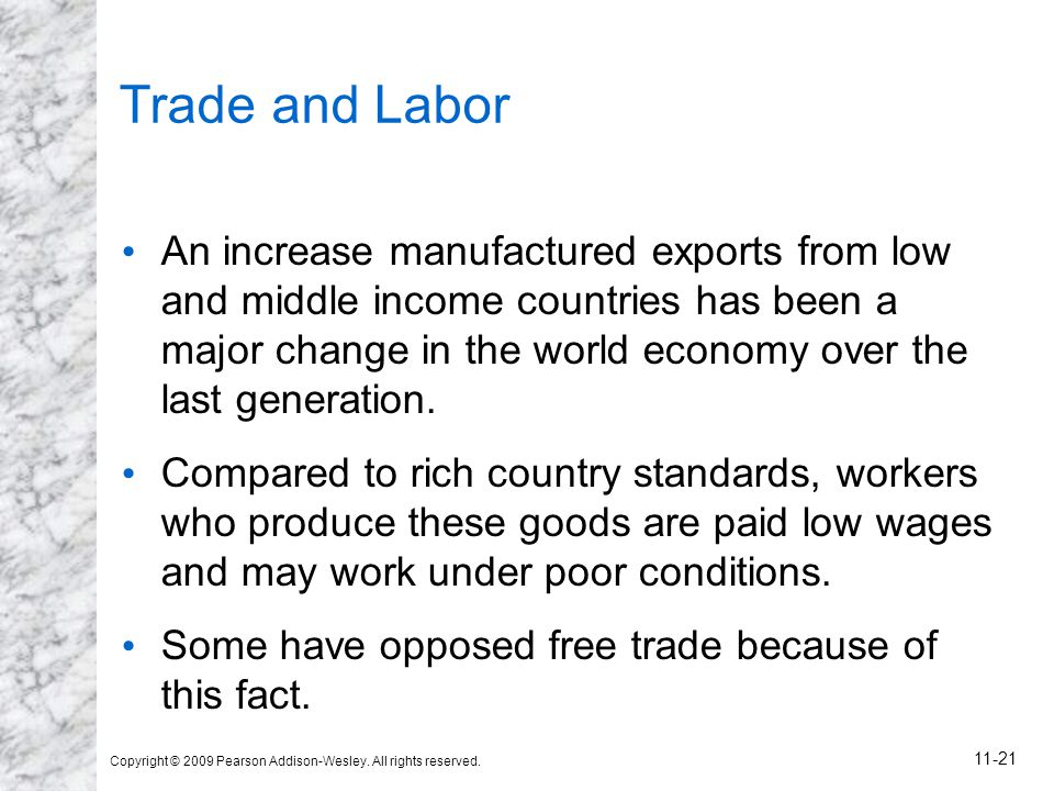 Copyright © 2009 Pearson Addison-Wesley. All rights reserved. 11-21 Trade and Labor An increase manufactured exports from low and middle income countr