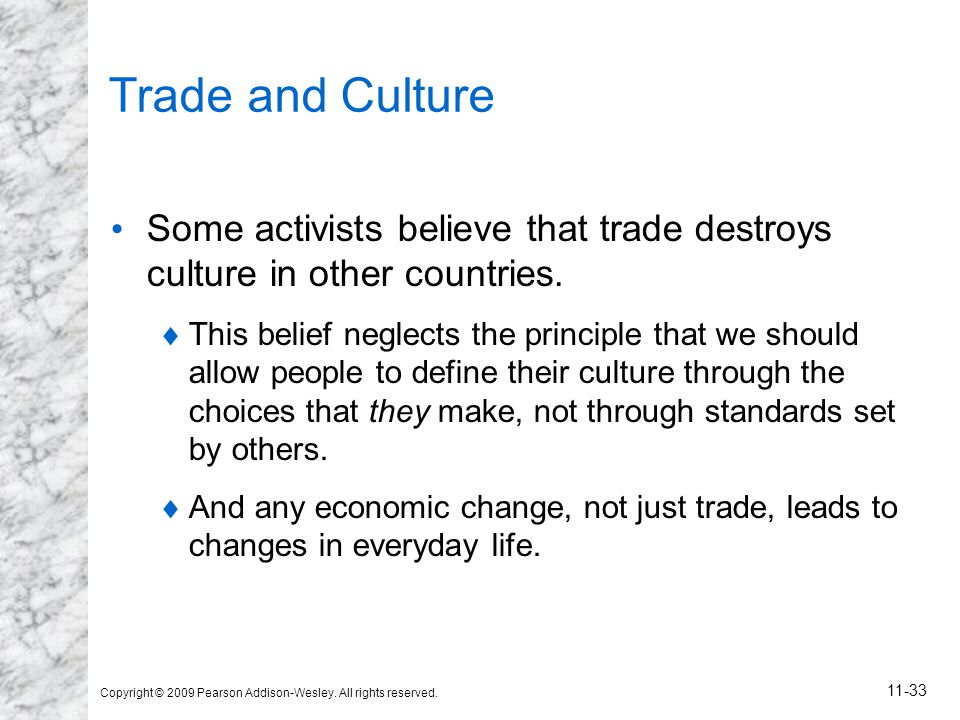 Copyright © 2009 Pearson Addison-Wesley. All rights reserved. 11-33 Trade and Culture Some activists believe that trade destroys culture in other coun