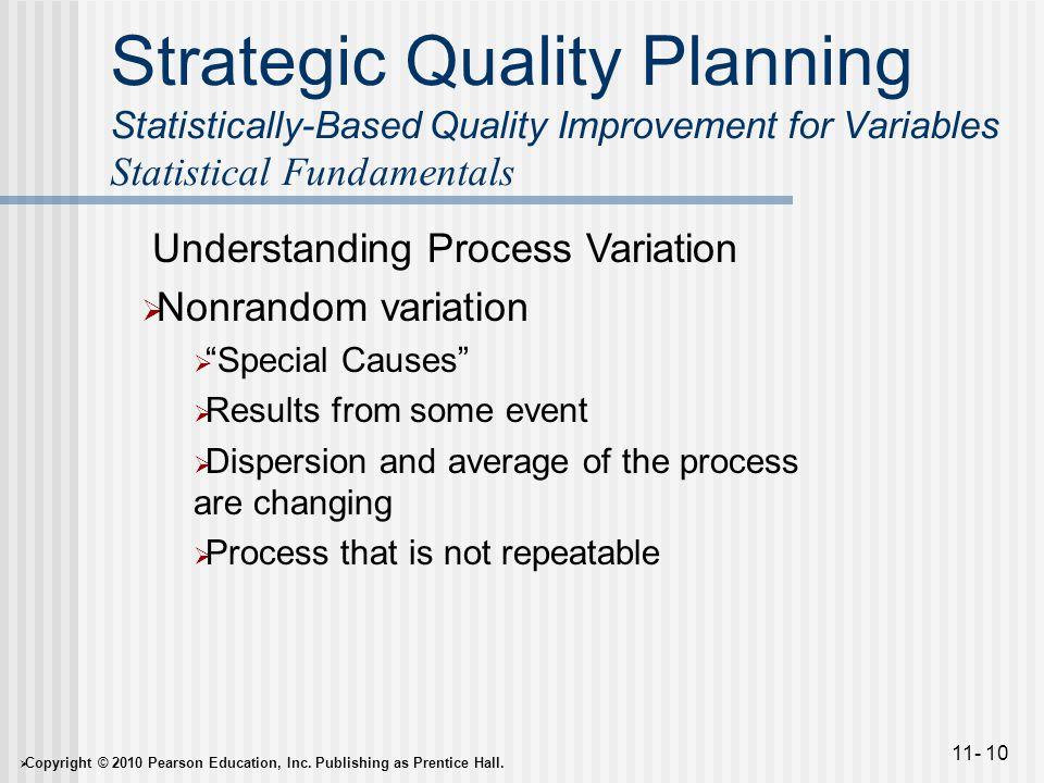  Copyright © 2010 Pearson Education, Inc. Publishing as Prentice Hall. 11- 10 Strategic Quality Planning Statistically-Based Quality Improvement for