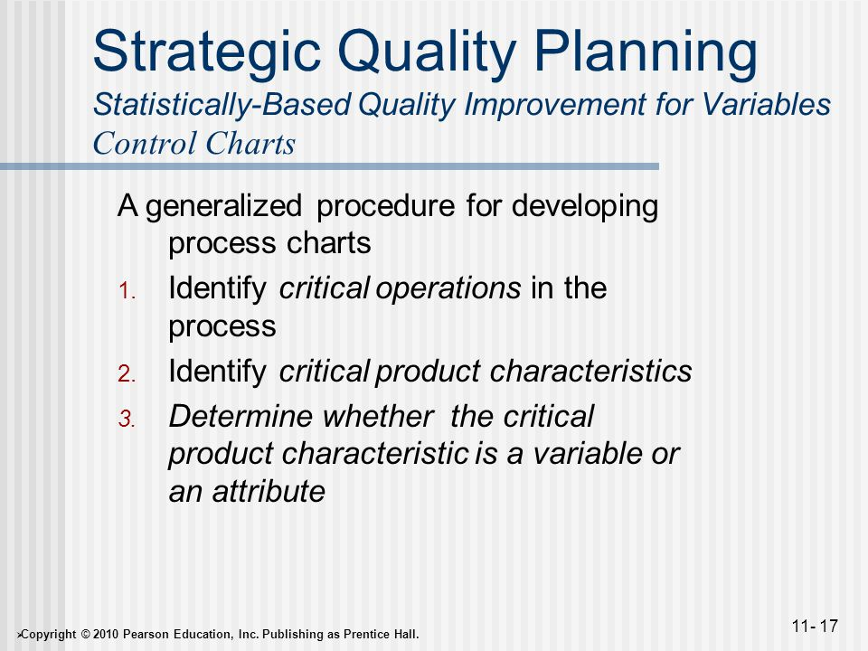  Copyright © 2010 Pearson Education, Inc. Publishing as Prentice Hall. 11- 17 Strategic Quality Planning Statistically-Based Quality Improvement for