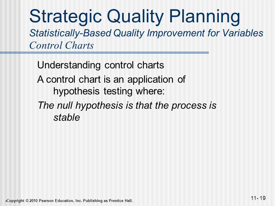  Copyright © 2010 Pearson Education, Inc. Publishing as Prentice Hall. 11- 19 Strategic Quality Planning Statistically-Based Quality Improvement for