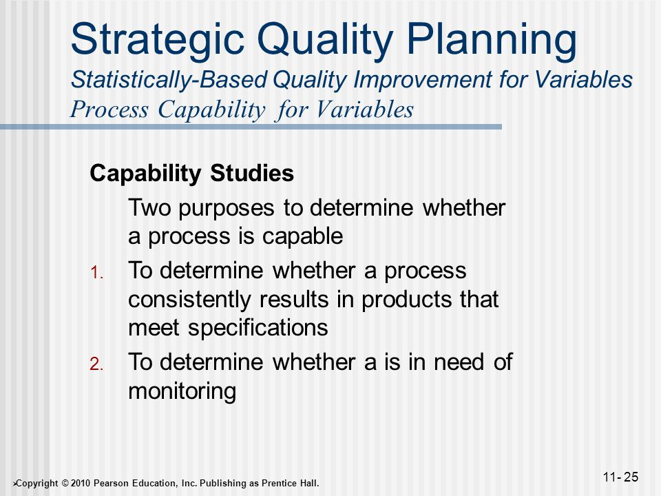  Copyright © 2010 Pearson Education, Inc. Publishing as Prentice Hall. 11- 25 Strategic Quality Planning Statistically-Based Quality Improvement for