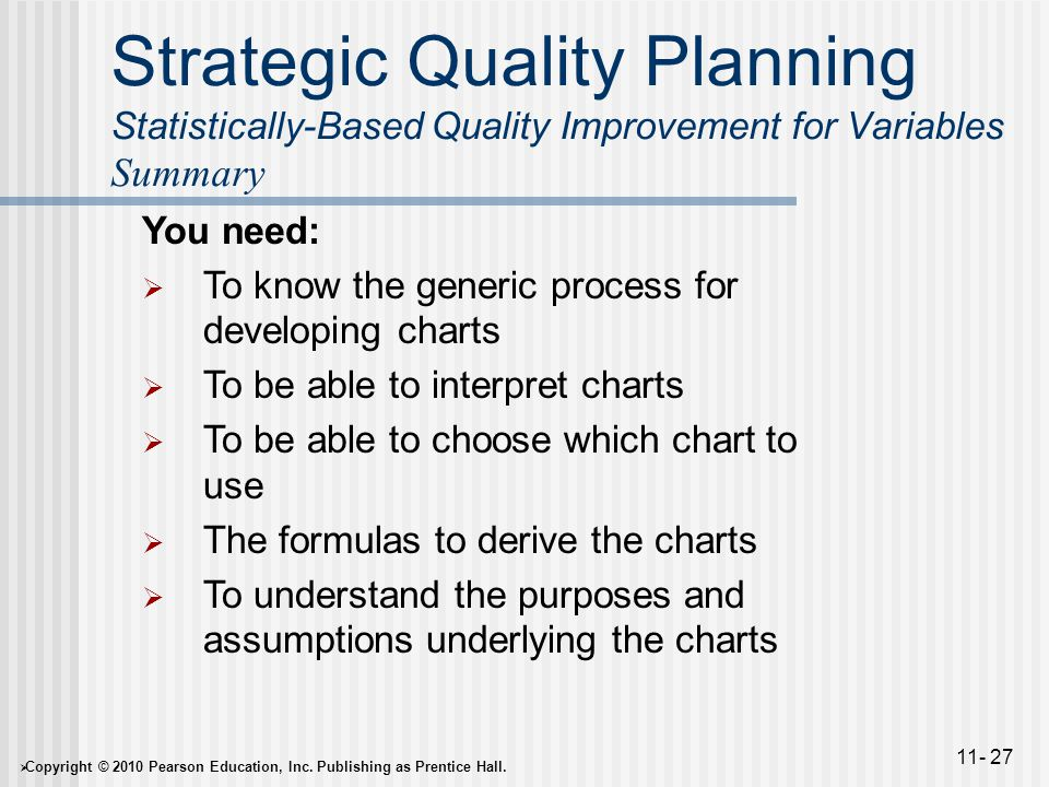  Copyright © 2010 Pearson Education, Inc. Publishing as Prentice Hall. 11- 27 Strategic Quality Planning Statistically-Based Quality Improvement for