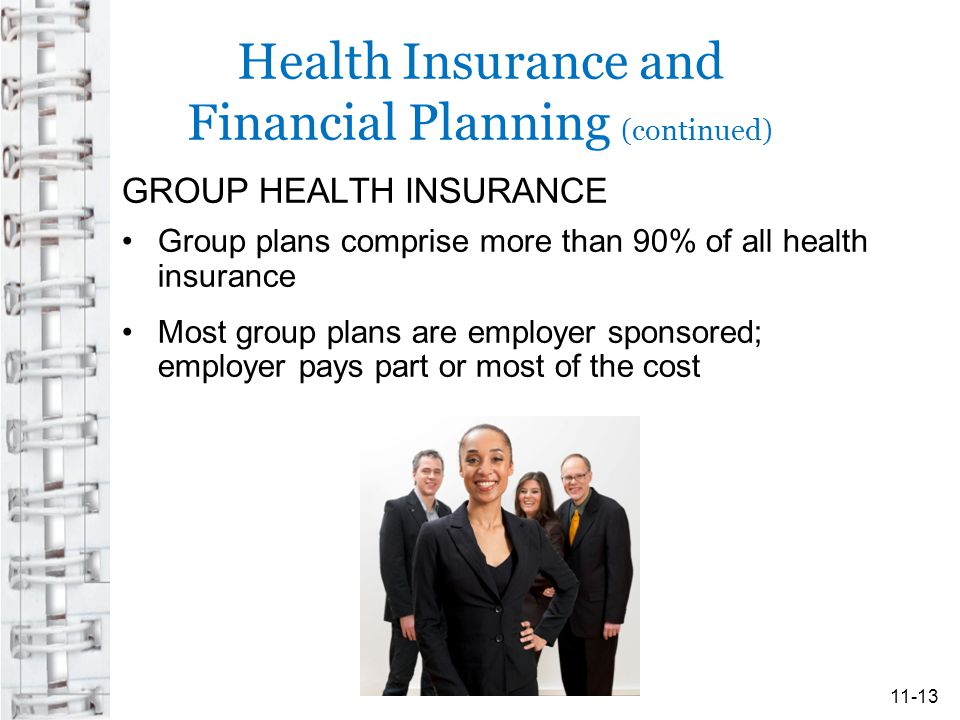 Health Insurance and Financial Planning (continued) GROUP HEALTH INSURANCE Group plans comprise more than 90% of all health insurance Most group plans are employer sponsored; employer pays part or most of the cost 11-13