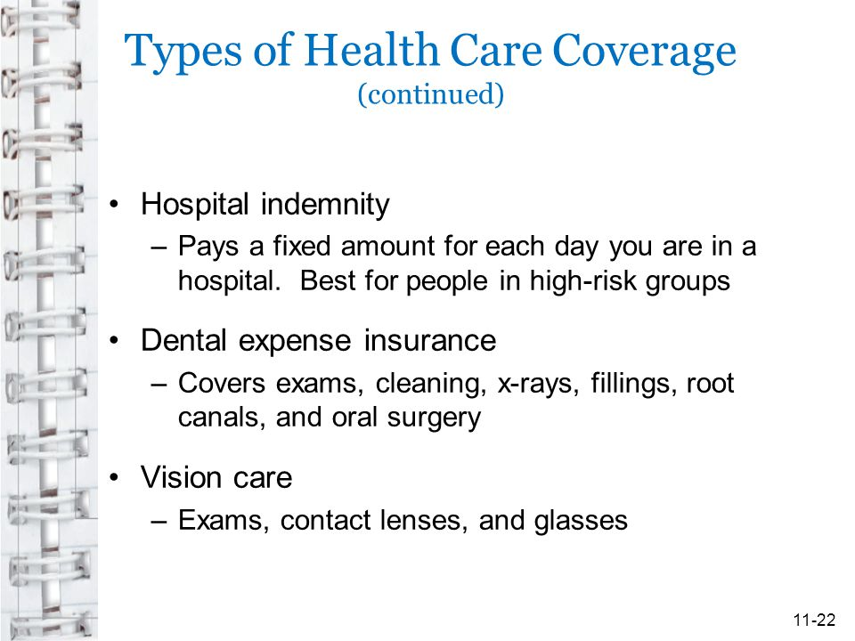 Types of Health Care Coverage (continued) Hospital indemnity –Pays a fixed amount for each day you are in a hospital.