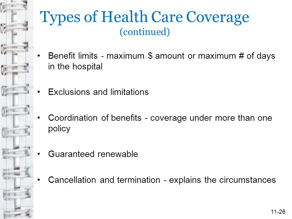 Types of Health Care Coverage (continued) Benefit limits - maximum $ amount or maximum # of days in the hospital Exclusions and limitations Coordination of benefits - coverage under more than one policy Guaranteed renewable Cancellation and termination - explains the circumstances 11-26