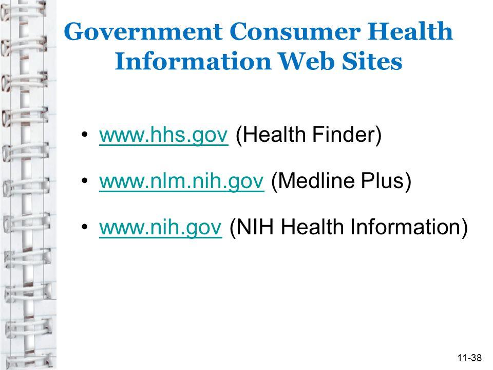 Government Consumer Health Information Web Sites www.hhs.gov (Health Finder)www.hhs.gov www.nlm.nih.gov (Medline Plus)www.nlm.nih.gov www.nih.gov (NIH