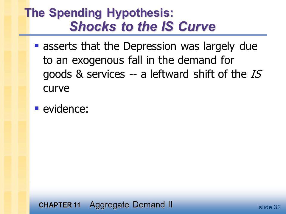 CHAPTER 11 Aggregate Demand II slide 32 The Spending Hypothesis: Shocks to the IS Curve  asserts that the Depression was largely due to an exogenous