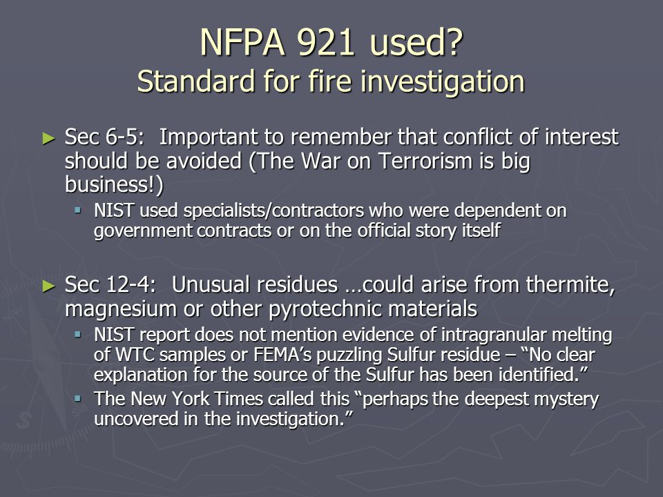 NFPA 921 used.