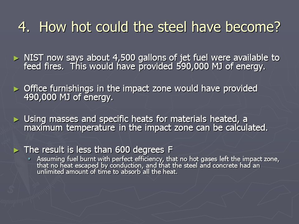 4.How hot could the steel have become.