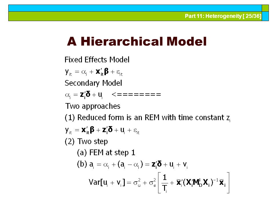 Part 11: Heterogeneity [ 25/36] A Hierarchical Model