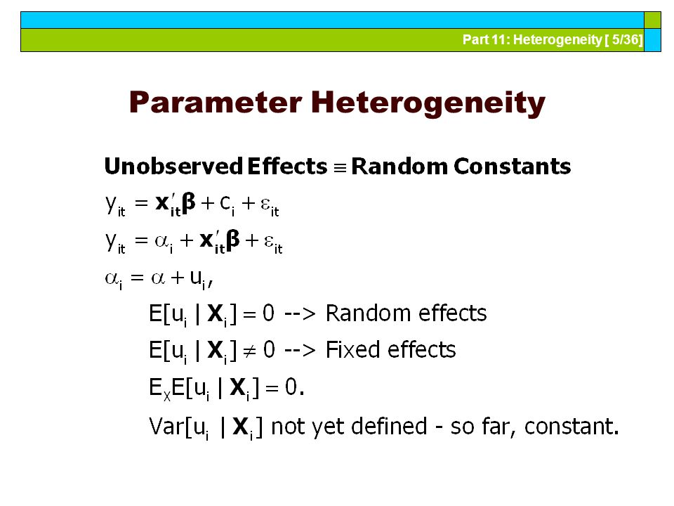 Part 11: Heterogeneity [ 5/36] Parameter Heterogeneity