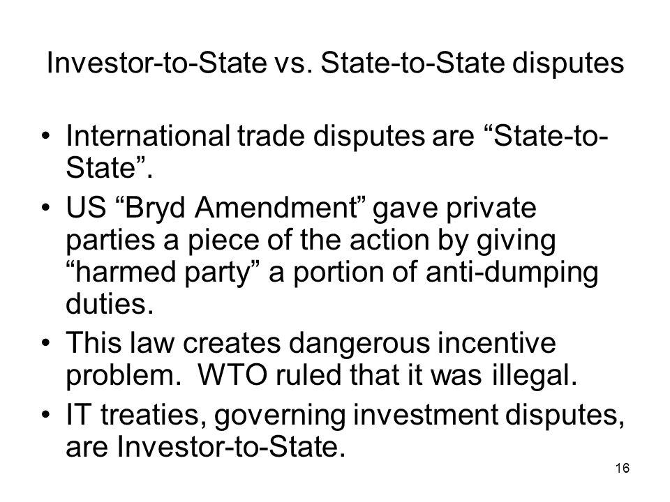 16 Investor-to-State vs.