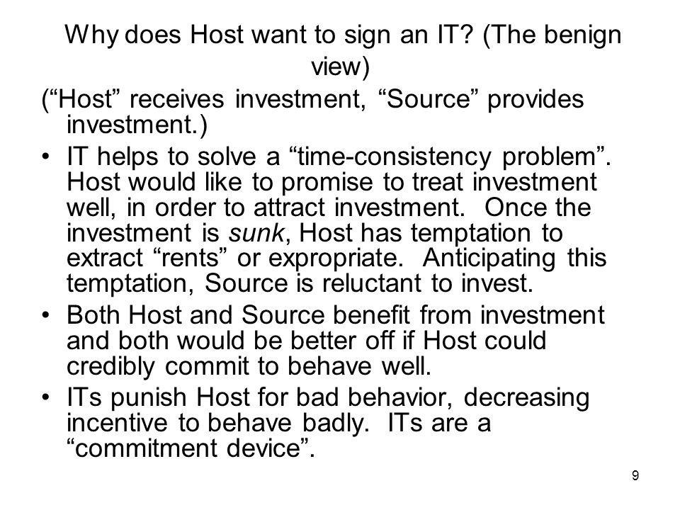 9 Why does Host want to sign an IT.