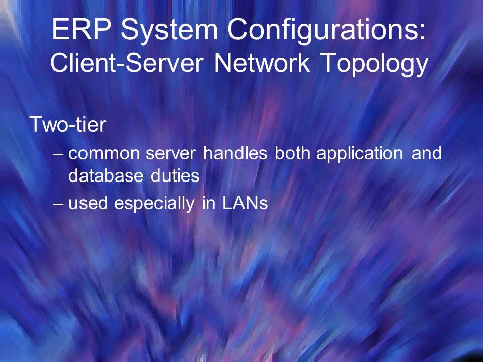 ERP System Configurations: Client-Server Network Topology Two-tier –common server handles both application and database duties –used especially in LAN