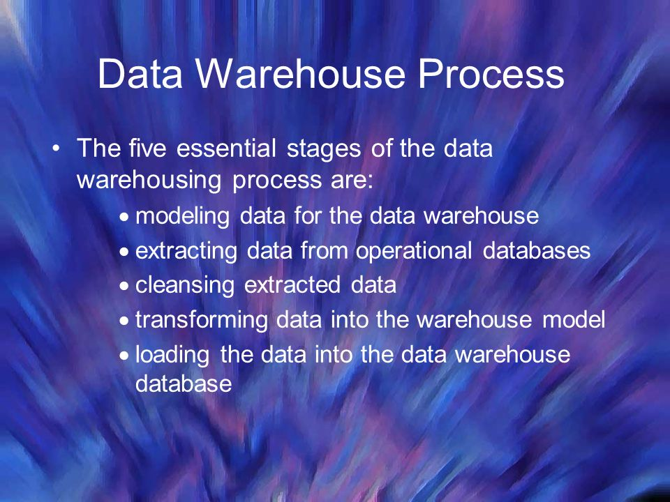 Data Warehouse Process The five essential stages of the data warehousing process are:  modeling data for the data warehouse  extracting data from op