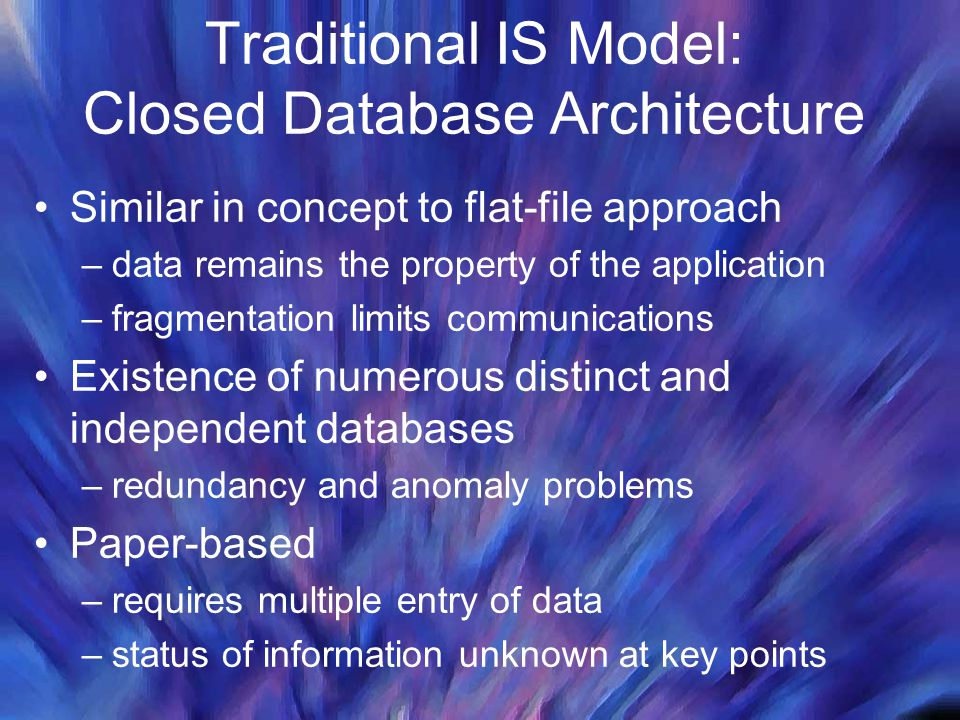 Traditional IS Model: Closed Database Architecture Similar in concept to flat-file approach –data remains the property of the application –fragmentati