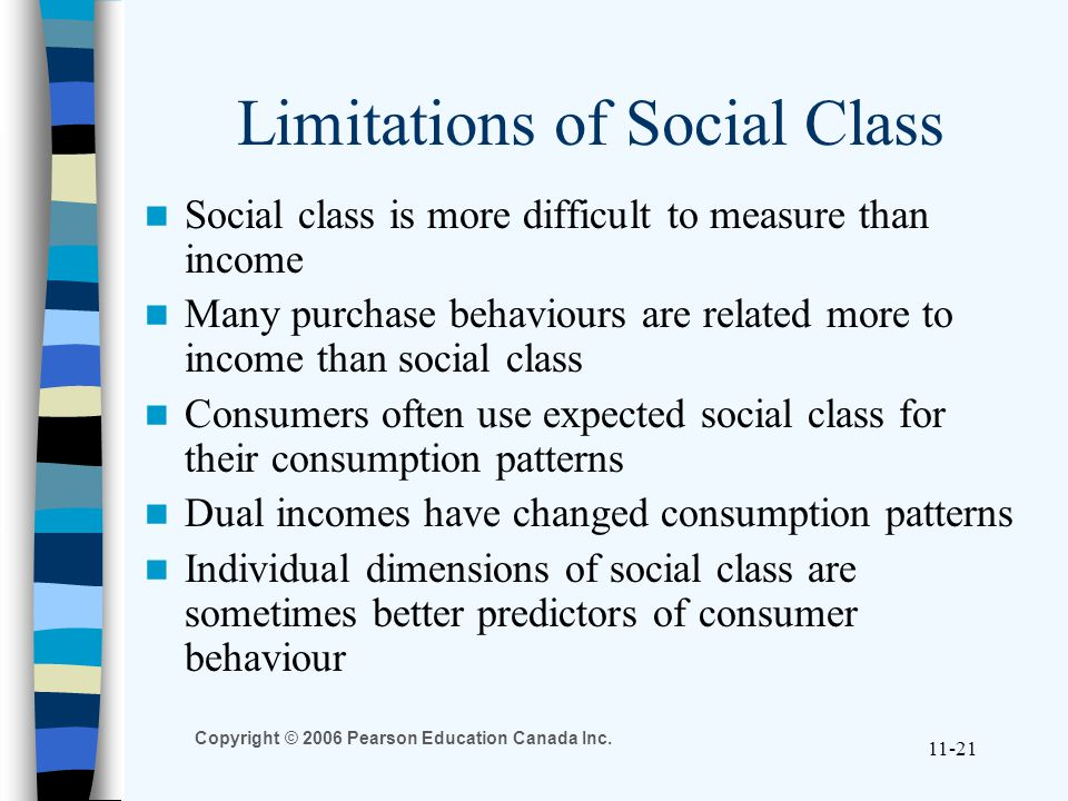Copyright © 2006 Pearson Education Canada Inc. 11-21 Limitations of Social Class Social class is more difficult to measure than income Many purchase b