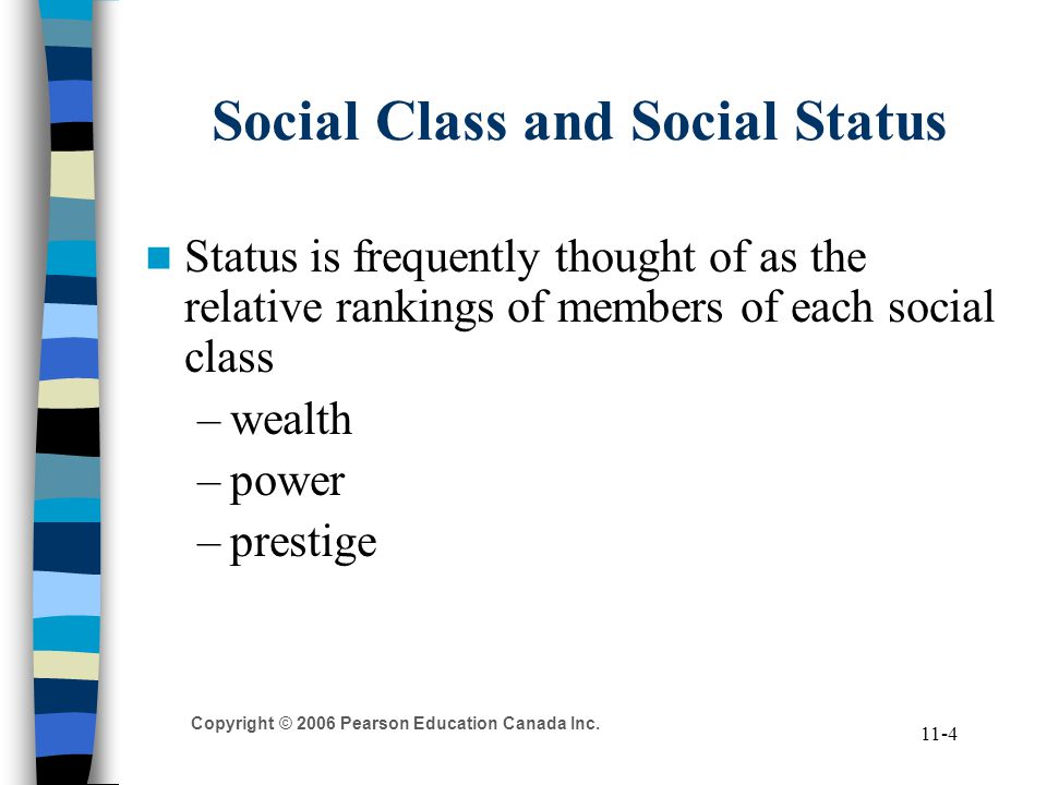 Copyright © 2006 Pearson Education Canada Inc. 11-4 Social Class and Social Status Status is frequently thought of as the relative rankings of members