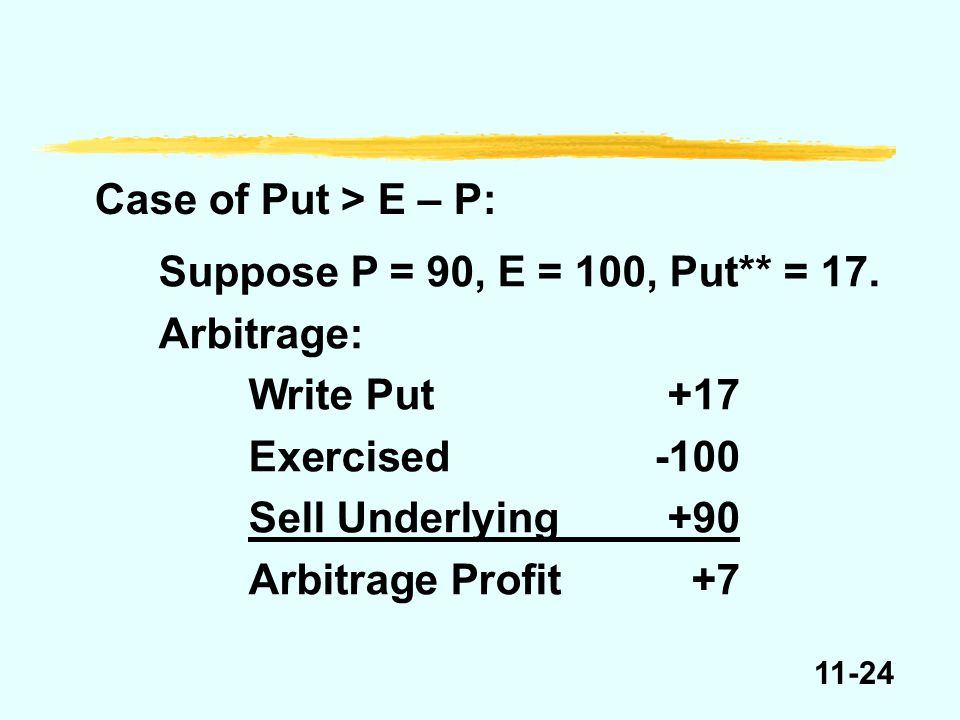 11-24 Case of Put > E – P: Suppose P = 90, E = 100, Put** = 17. Arbitrage: Write Put+17 Exercised-100 Sell Underlying+90 Arbitrage Profit+7